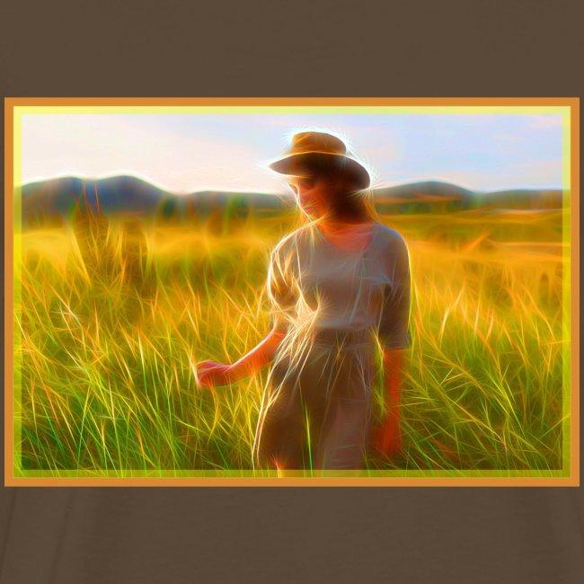 Donna tra gli steli d' erba