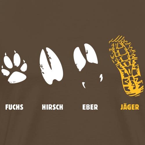 Fuchs, Reh, Wildschwein, Jäger, Trittsiegel, Fährt - Männer Premium T-Shirt