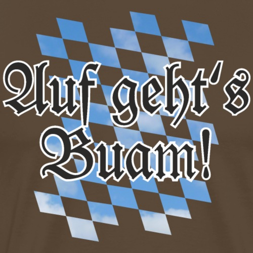 Auf geht's Buam Bayern Spruch mit Rauten - Männer Premium T-Shirt
