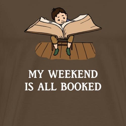 My Weekend Is All Booked Reading Kid Cartoon - Mannen Premium T-shirt