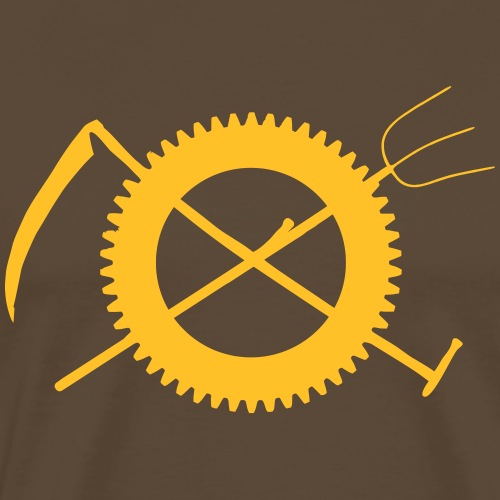 Gabel Sense Zahnrad Landwirt Symbol - Männer Premium T-Shirt