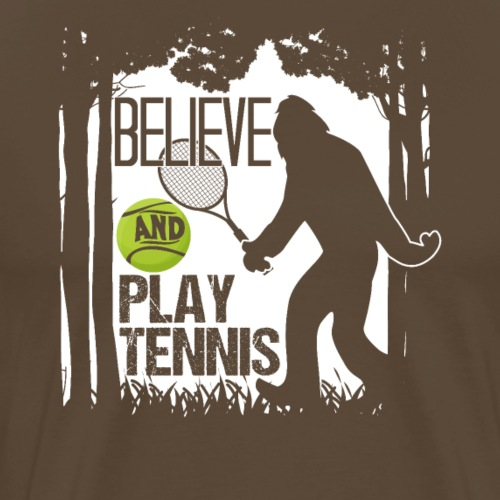 Believe Bigfoot Playing Tennis Sasquatch - Männer Premium T-Shirt