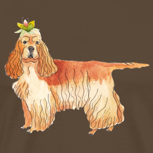 American cocker spaniel with flower - Herre premium T-shirt