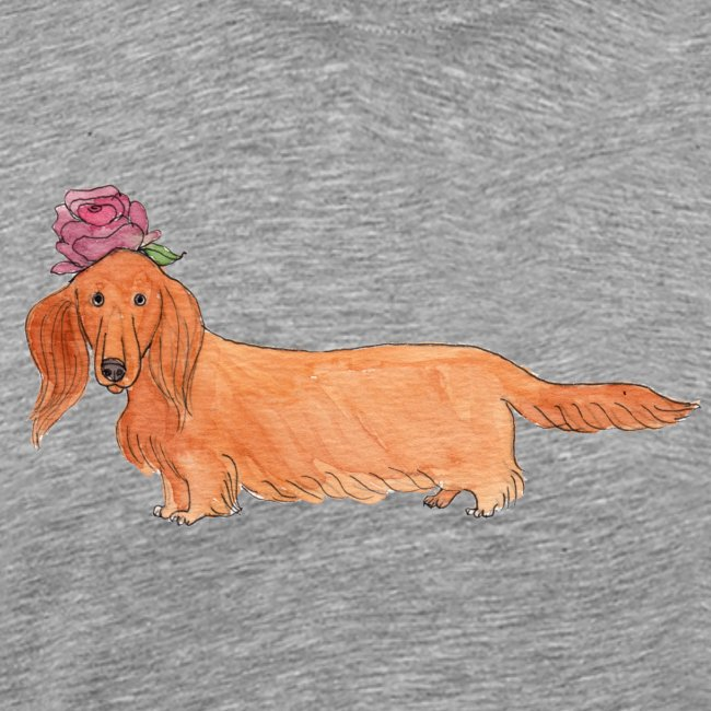 dachshund with flower