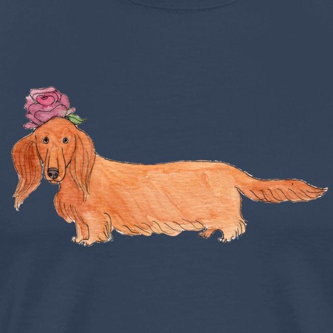 dachshund with flower
