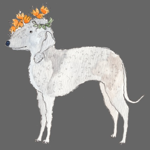 bedlington with flower - Herre premium T-shirt