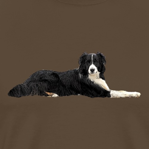 Border Collie liegend - Männer Premium T-Shirt
