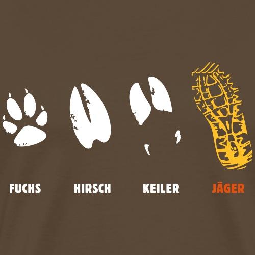 Fuchs, Reh, Keiler, Jäger, Trittsiegel, Fährte - Männer Premium T-Shirt