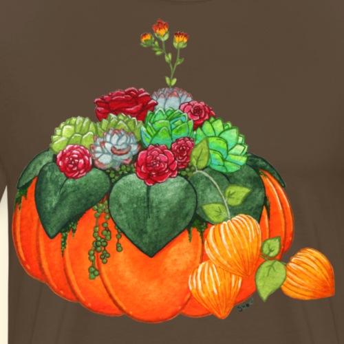Bouquet d'automne : Succulentes et citrouille - T-shirt Premium Homme
