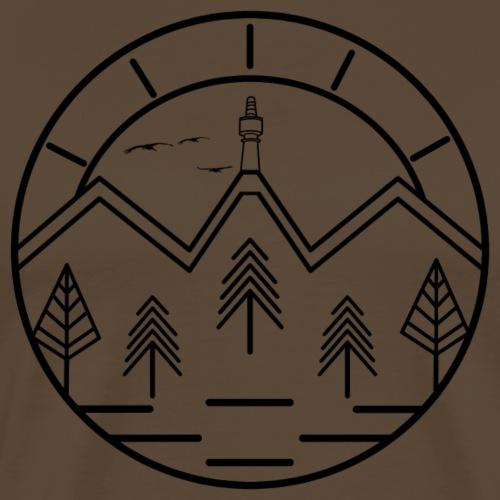 Lineart Schneeberg Fichtelgebirge Bäume Berge - Männer Premium T-Shirt