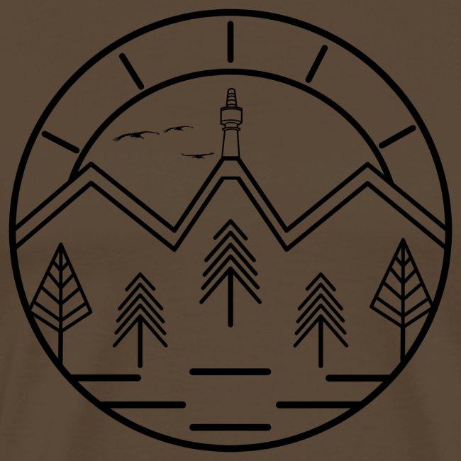 Lineart Schneeberg Fichtelgebirge Bäume Berge