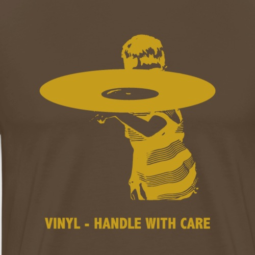 T-Record - Handle with care (goud) - Mannen Premium T-shirt