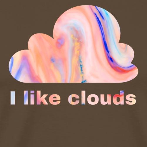 Schlichtes buntes Wolken Desgin/ Symbol mit text - Männer Premium T-Shirt