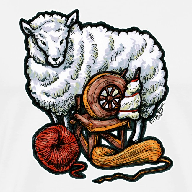 Lustiges Schaf und Wolle Handarbeiten Geschenk
