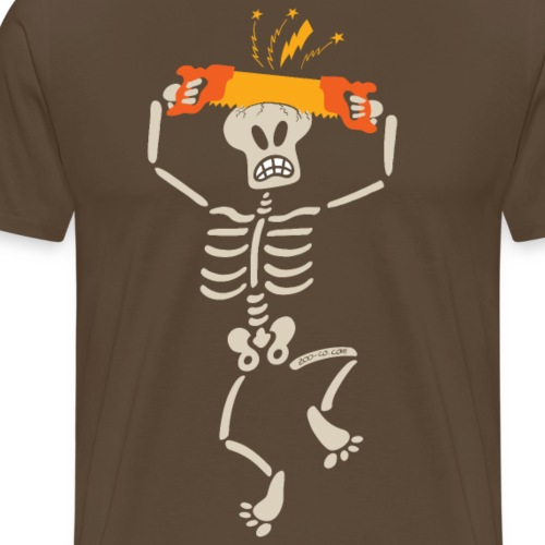 Skeleton sawing own skull with a two handed saw - Men's Premium T-Shirt