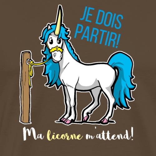 Lustiges Einhorn mit Spruch Französisch Geschenk - Männer Premium T-Shirt