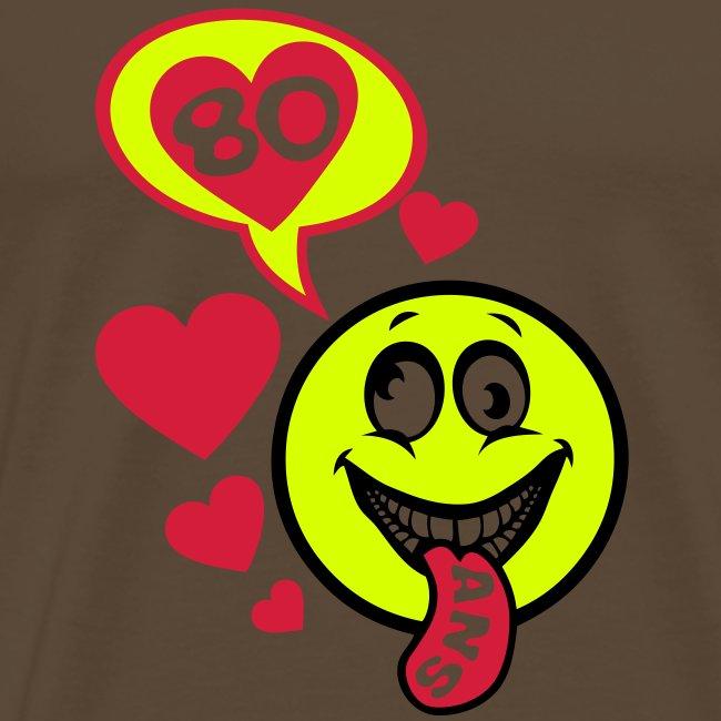 Emoticone Anniversaire 50 Ans.80 Ans Smiley Anniversaire Bulle Langue T Shirt Premium Homme
