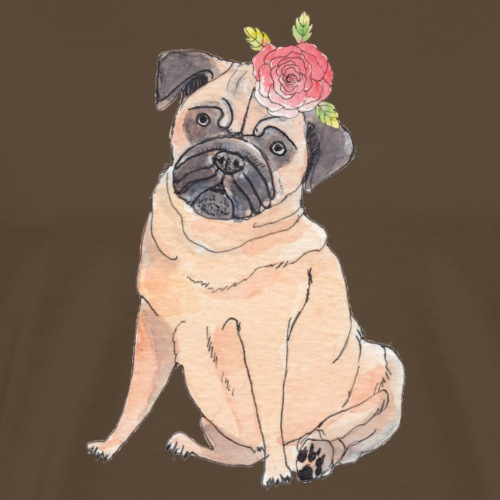 Pug with flower - Herre premium T-shirt