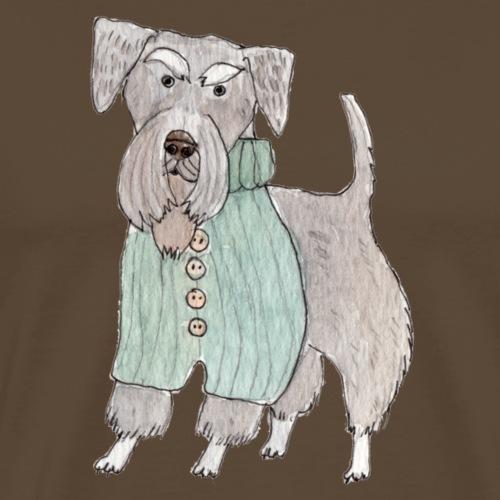 schnauzer with sweater - Herre premium T-shirt