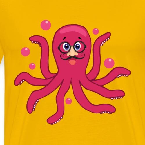 Krake Pink Brille Geschenk - Männer Premium T-Shirt