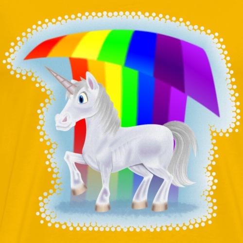 Cartoon Unicorn Under a Rainbow - Men's Premium T-Shirt