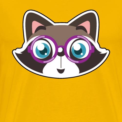 Katze Violett Brille Geschenk Cartoon Comic - Männer Premium T-Shirt