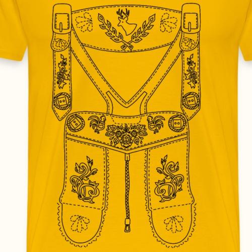 Lederhose - schwarz - Männer Premium T-Shirt