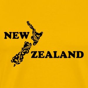 New Zealand: kort og bogstaver i sort - Herre premium T-shirt