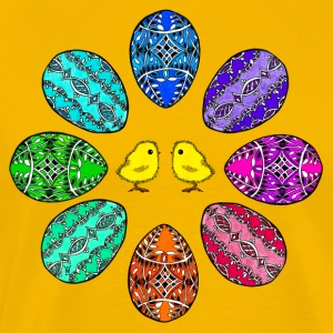 Happy Easter colorful easter eggs Chick beautiful merry - Men's Premium T-Shirt