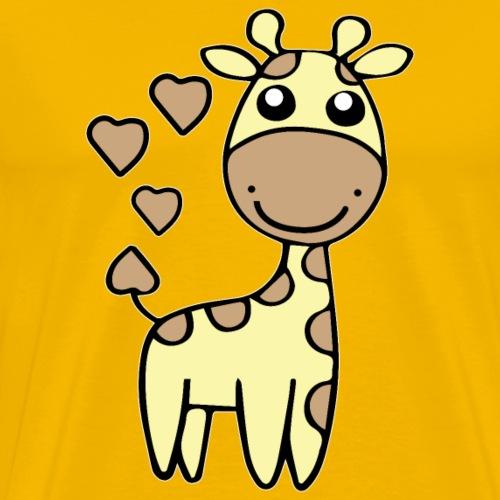 Giraffe Comic Cartoon Herz Geschenk - Männer Premium T-Shirt