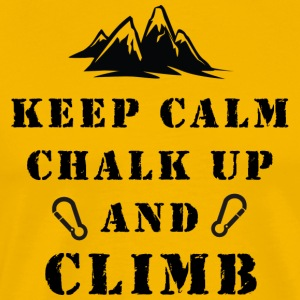 Klatring Keep Calm Chalk Up And Climb - Herre premium T-shirt