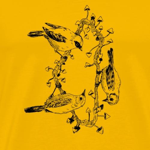 Vogel-Trio / Pilze / Baum - Männer Premium T-Shirt