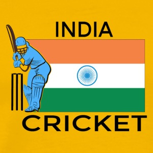 India Cricket Player Flag - Mannen Premium T-shirt
