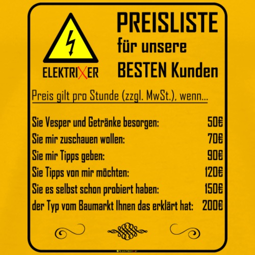 ElektriXer Preisliste (schwarz) V2 - Männer Premium T-Shirt