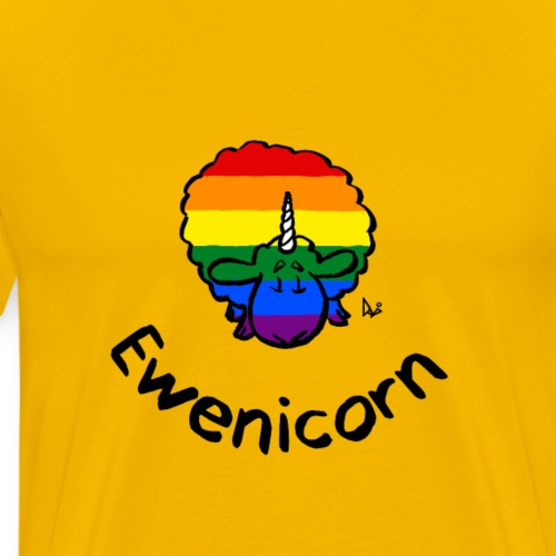 Rainbow Ewenicorn - it's a unicorn sheep! (text) - Men's Premium T-Shirt