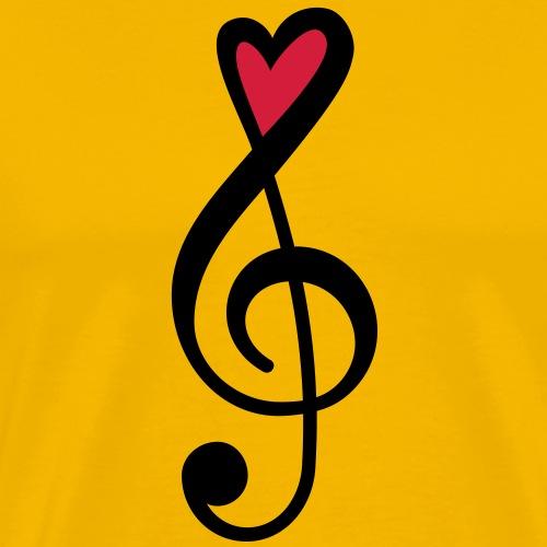 Notenschlüssel Herz rot Musik - Männer Premium T-Shirt