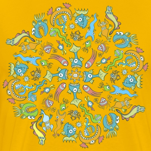 Sea creatures eat each other by creating a Mandala - Men's Premium T-Shirt