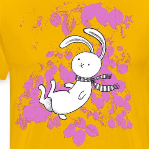 Hase mit pinken Blättern - Männer Premium T-Shirt