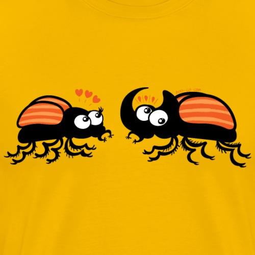Rhinoceros beetles falling in love - Men's Premium T-Shirt