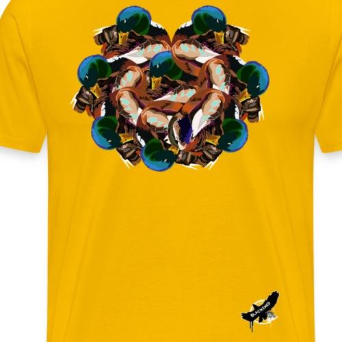 Mallard Duck Heap by BlackenedMoonArts, w. logo - Herre premium T-shirt