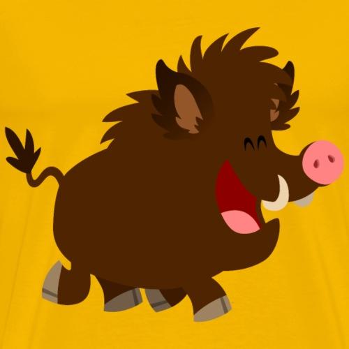 Joyous Cartoon Wild Boar by Cheerful Madness!! - Men's Premium T-Shirt