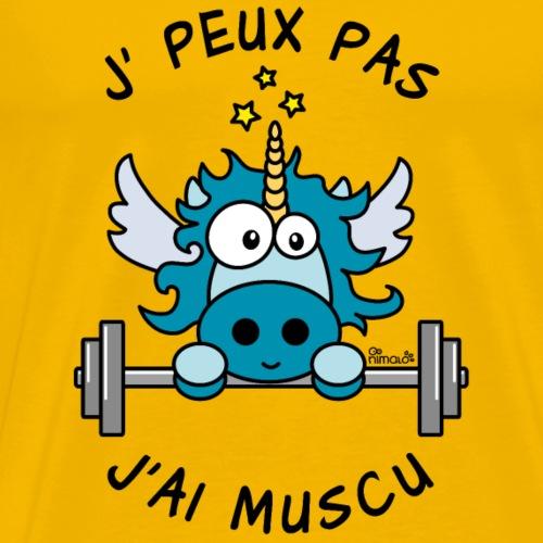Licorne Bleu Je Peux pas, J'ai Musculation - T-shirt Premium Homme