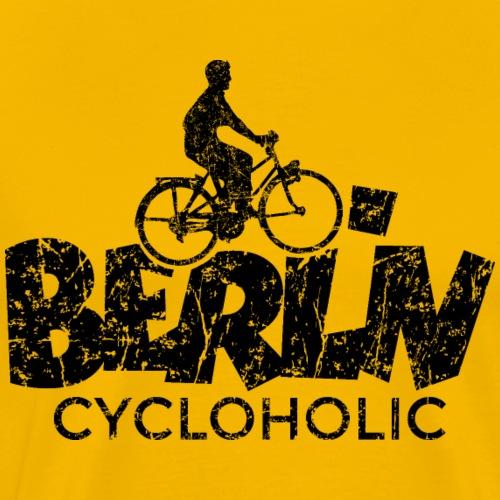 Berlin Cycloholic (Vintage/Schwarz) Fahrradfahrer - Männer Premium T-Shirt