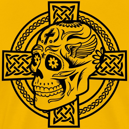 Celtic Cross Skull - Männer Premium T-Shirt
