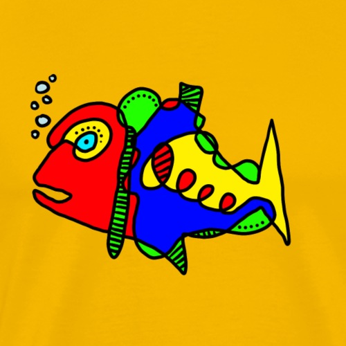 Tusche Fisch - Männer Premium T-Shirt