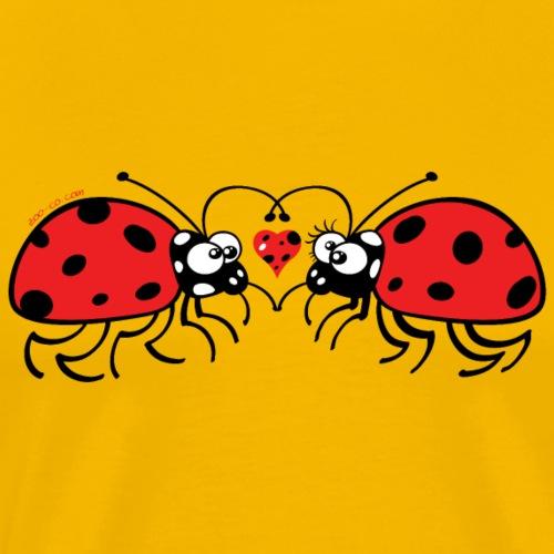 Adorable ladybugs sweetly falling in love - Men's Premium T-Shirt