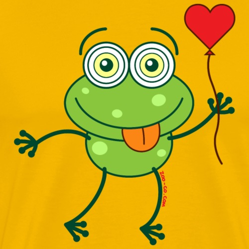 Green frog falling madly in love - Men's Premium T-Shirt