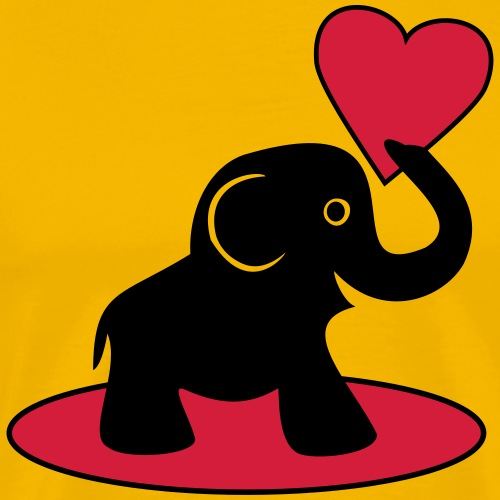 Süßer Elefant mit Herz - Männer Premium T-Shirt