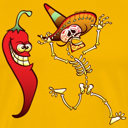 Hot Chili Pepper Nightmare for a Mexican Skeleton - Men's Premium T-Shirt