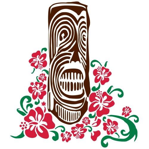 Tiki Totem with Hibiscus Flowers - Men's Premium T-Shirt